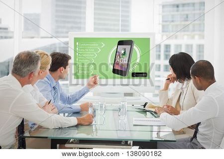 Ad of a new app against business people looking at blank whiteboard in conference room