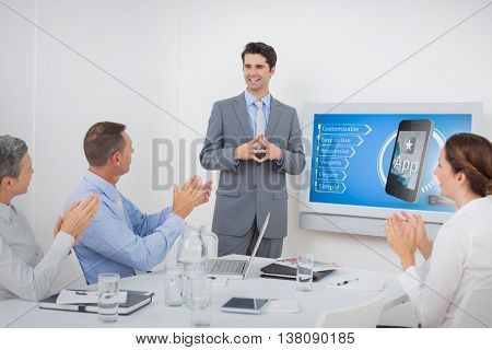Ad for a new application against business team applauding their colleague