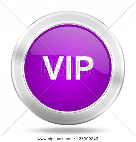 vip round glossy pink silver metallic icon, modern design web element
