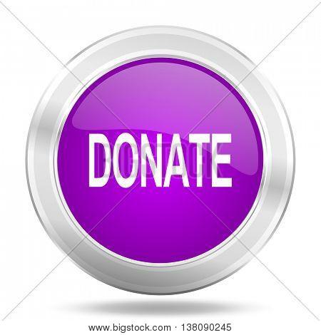 donate round glossy pink silver metallic icon, modern design web element