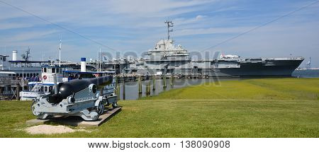 CHARLESTON SC USA 06 24 2016: USS Yorktown is 1 of 24 Essex-class aircraft carriers built during WWII for the US Navy. She is named after the Battle of Yorktown of the American Revolutionary War