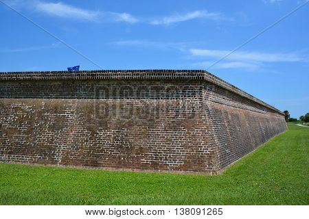 CHARLESTON SC USA JUNE 24 2016: Fort Moultrie is a fortifications on Sullivan's Island, built to protect the city of Charleston named for the commander General William Moultrie.