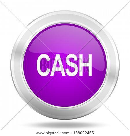 cash round glossy pink silver metallic icon, modern design web element