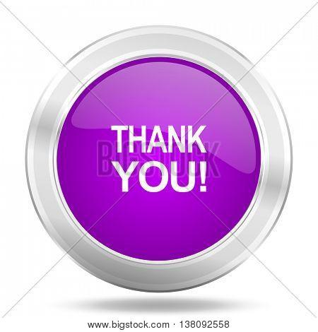 thank you round glossy pink silver metallic icon, modern design web element