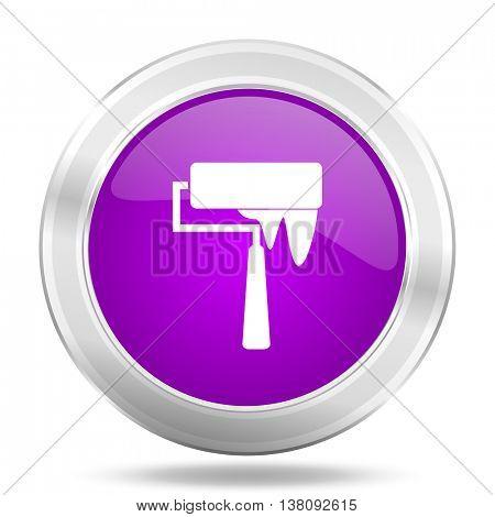 brush round glossy pink silver metallic icon, modern design web element