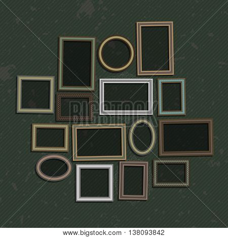 Picture frame vector.Photo art gallery on vintage wall. Set of a vector framework in realistic style. Wooden Frame for Photo or Pictures, isolated on dark, stylized a vintage background. Old frame set
