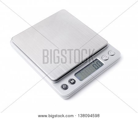 Electronic scales isolated on white background.