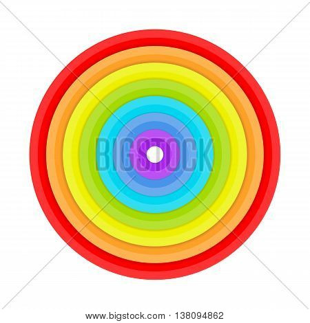 Rings painted in colors of the rainbow. Vector illustration rainbow colored ring isolated on white background. Vector illustration abstract vortex background in flat style.