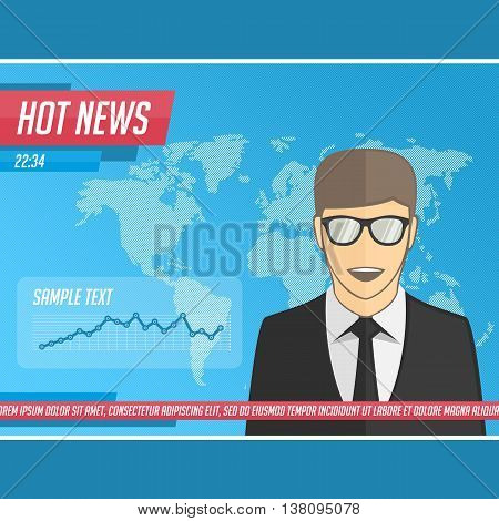 Anchorman on tv broadcast news. Vector illustration media on television concept with globe map background. Breaking news. News announcer in the studio. Vector illustration in flat style.