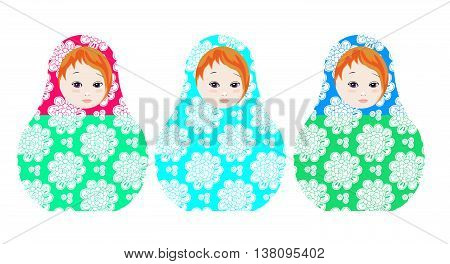 Russian dolls - matrioshka. Collection of toys with tender floral ornament. Vector illustration