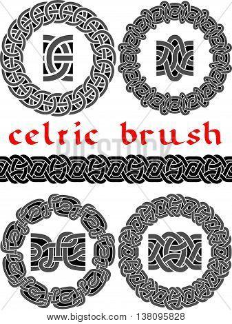 Celtic brush for design seamless vector - frame
