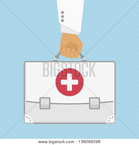 Vector illustration a bag, the first aid kit in the doctor hand in flat stule. Illustration concept health care and ambulance. Medical background.
