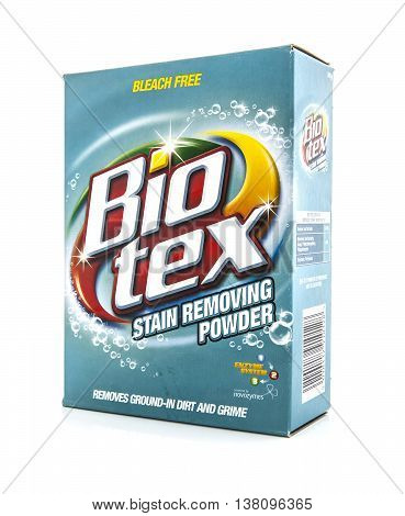 SWINDON UK - JANUARY 19 2014: Box of Bio Tex bleach free stain removing powder on a white background