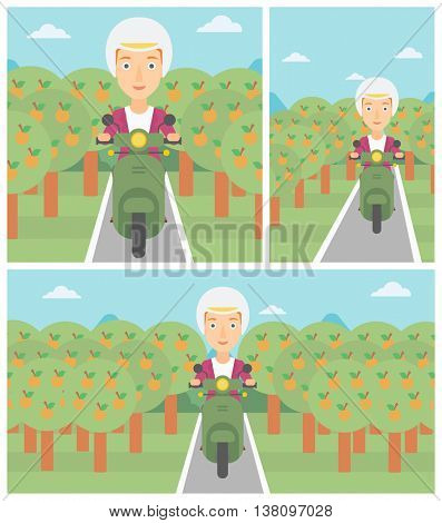 Woman riding a scooter on the asphalt road through the orchard. Young woman in helmet driving a scooter. Vector flat design illustration. Square, horizontal, vertical layouts.