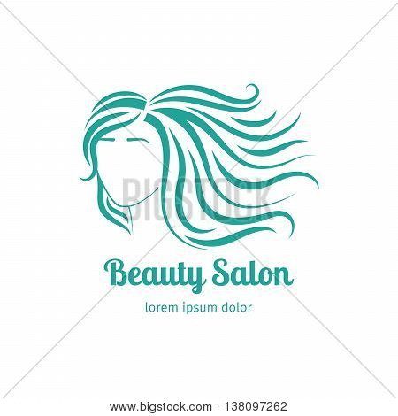 Turqiouse icon with girl face silhouette with long hair. Vector illustration