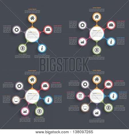 Circle diagram infographics with five, six, seven and eight elements with icons and text, circle flow chart template, business infographics, flat diagram template, vector eps10 illustration