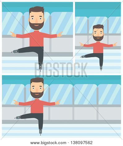 Professional male figure skater with the beard performing on indoor ice skating rink. Young hipster male figure skater dancing. Vector flat design illustration. Square, horizontal, vertical layouts.