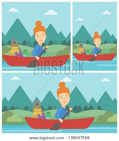 Young woman riding in a kayak on the river with a skull in hands and some tourist equipment behind her. Woman traveling by kayak. Vector flat design illustration. Square, horizontal, vertical layouts.