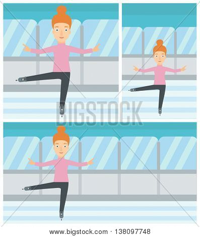 Professional female figure skater performing on indoor ice skating rink. Young female figure skater dancing. Vector flat design illustration. Square, horizontal, vertical layouts.