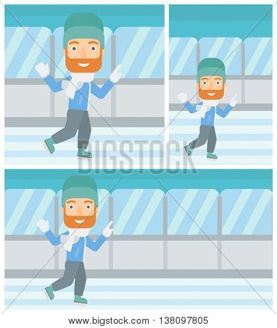 A hipster man with the beard ice skating on indoor ice skating rink. Sport and leisure concept. Vector flat design illustration. Square, horizontal, vertical layouts.