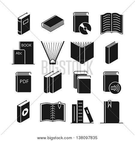 Books vector icons. Literature book for learning and illustration audio and video books