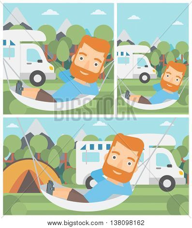 Hipster man with the beard lying in a hammock in front of motor home. Man resting in hammock and enjoying vacation in camper van. Vector flat design illustration. Square, horizontal, vertical layouts.