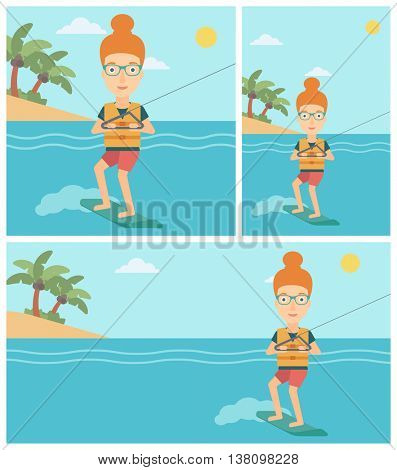 Young sports woman wakeboarding on the sea. Wakeboarder making tricks. Woman studying wakeboarding. Young woman riding wakeboard. Vector flat design illustration. Square, horizontal, vertical layouts.