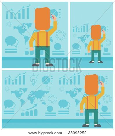 Rear view of businessman drawing on a wall with many charts and maps. Man giving a business presentation. Vector flat design illustration. Square, horizontal, vertical layouts.