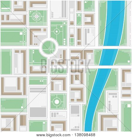 A generic city map of an imaginary city. Editable vector street map of a fictional generic town. Vector city map with typical locations and objects like roads, houses, river, gardens, parks.