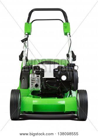 Studio shot of green lawnmower. Lawn mower