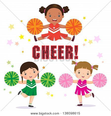 Vector illustration of cheerleader with Pom Poms
