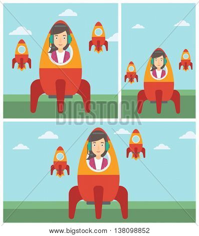 Young business woman in headphones flying in the rocket. Successful business start up concept. Business rocket taking off. Vector flat design illustration. Square, horizontal, vertical layouts.