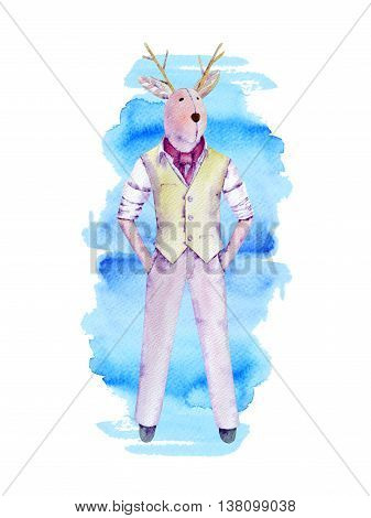 Moose watercolor doll with horn in  business attire with handkerchief. Hands in pockets