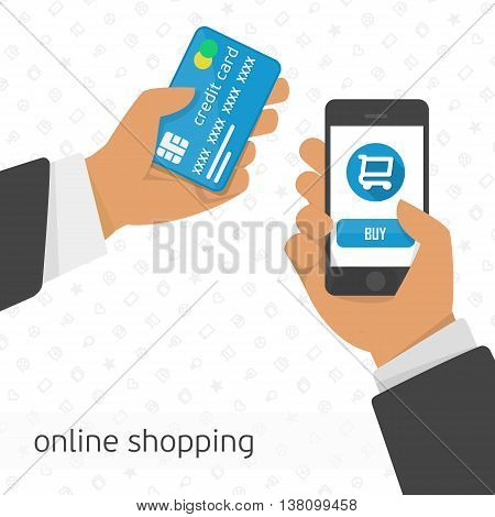 Vector illustration hand holding credit card and phone. Concept illustration of online shopping, shopping via the mobile app. Shopping Online with Smartphone.