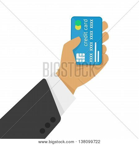 Stock Photo Credit card in the hand of man. Modern illustration of a hand holding a plastic card. The concept of credit card image in a flat style.