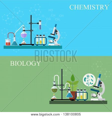 Biology laboratory workspace and science equipment concept. Chemistry laboratory workspace and science equipment concept. vector illustration in flat design