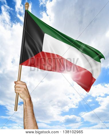 Person's hand holding the Kuwait national flag and waving it in the sky, 3D rendering
