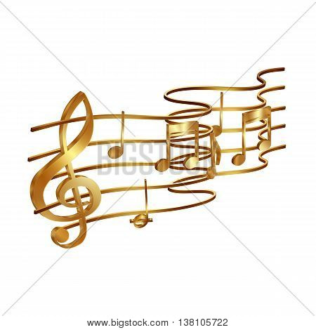 Vector illustration of gold musical notes volume and treble clef on the stave. Isolated objects on a white background can be used with any image or text.