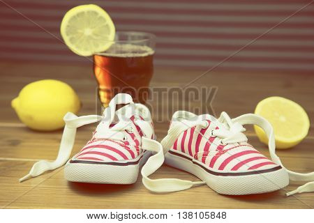 portrait of pair of summer shoes for child