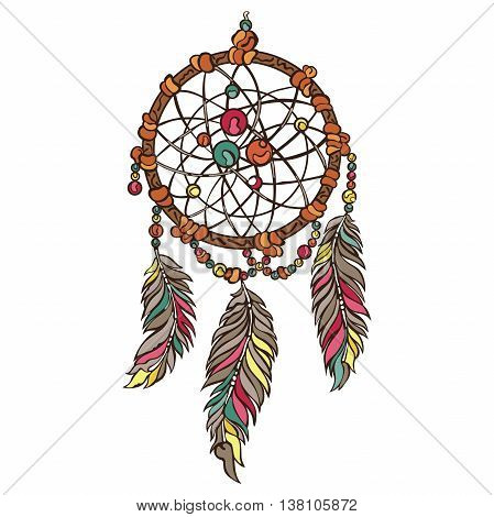Dreamcatcher. Boho pattern. Isolated vector object on white background.