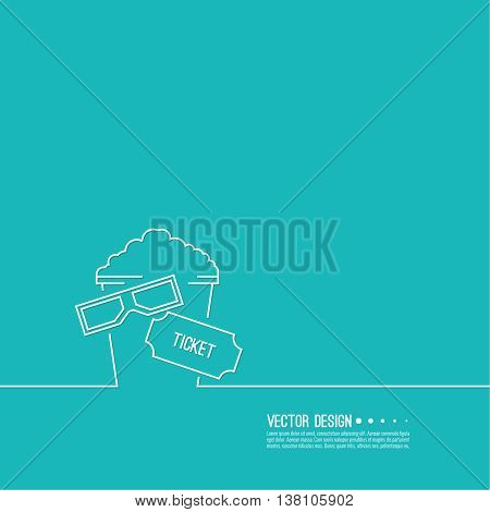 Abstract background with popcorn, 3D glasses and  tickets. The concept of a cinema and watching a movie. Layout, flyer, poster for announcement. Logo thin line.