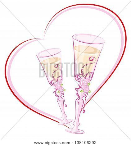 Two wedding champagne glass in heart shape. Illustration in vector format