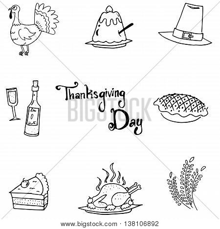 Thanksgiving flat doodle vector art with hand draw