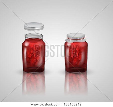strawberry jam on white background .vector illustration