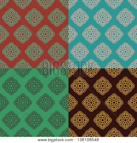 Vector classical seamless pattern set in pastel color with stylized shapes in retro style for background