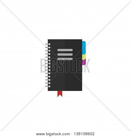 Closed notebook vector icon isolated on white background, flat black notepad organizer with bookmarks