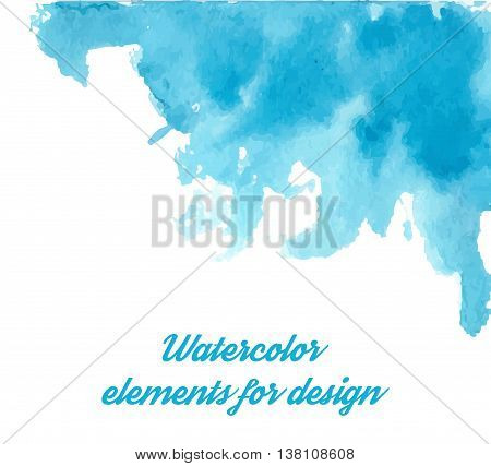 Vector Blue watercolor background for textures and backgrounds