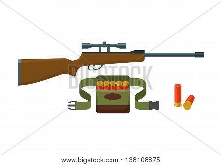Shotgun, shells and bandoliers with shells vector illustration