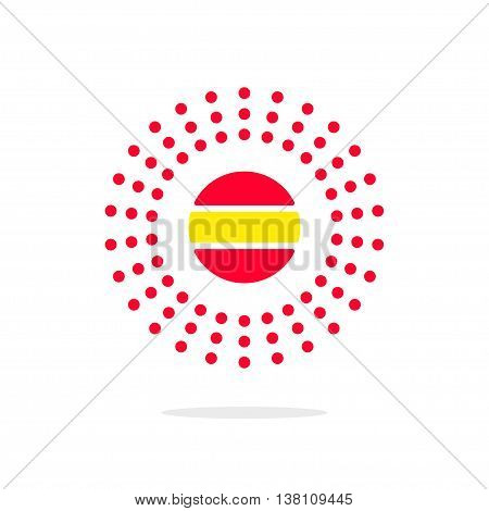 Abstract dotted rays, sun energy logo concept vector flat, solar power sign, heating technology symbol, lighting label, brightness icon button, optical medical logotype modern brand design isolated.
