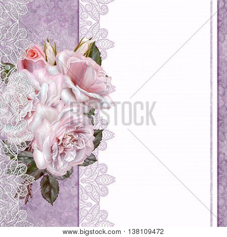Vintage postcard. Old style. Bouquet of roses on a pastel background, invitation card.
